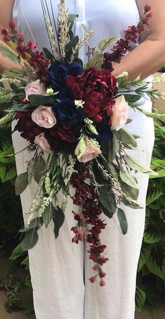 Cascading Crimson & Navy Silk Bridal Bouquet-Blush-Crimson-Soft Cream-Navy-Peony-Heather-Roses-Larkspur-Cascading Silk Fall Bridal Bouquet