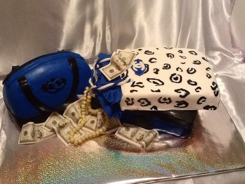 Channel shoe box, shopping bag and purse cake with edible money (entire cake 100%edible)