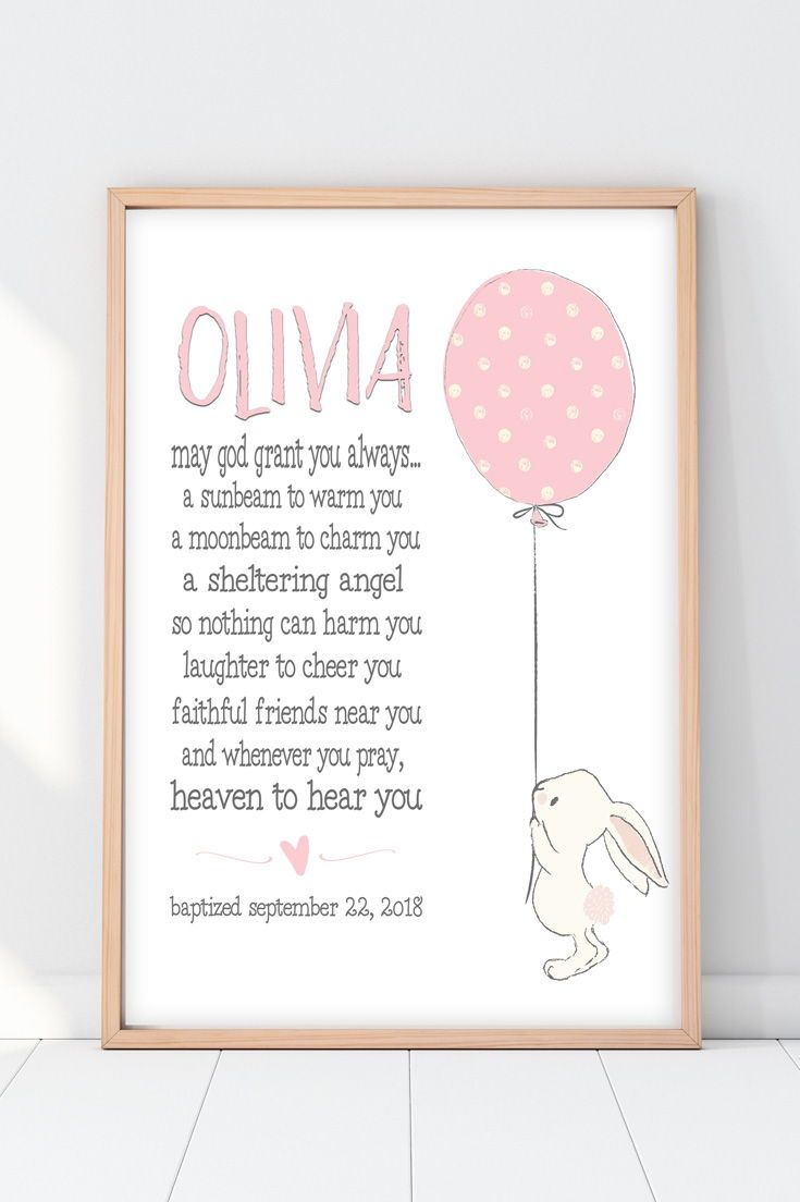 Christening Gifts From Godparents | Bunny Blessing Print images