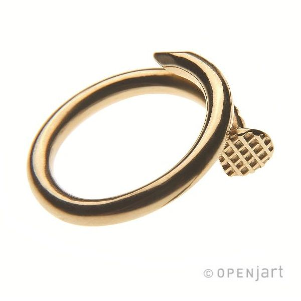 HIT THE NAIL Price: $403 Code number: 1044-925 Au Hit at any season, as it's climatically independent for it never rusts, as anything that is golden.  Two types of nails for your fingers: plain ring and signet ring. May well fit as regular rings or as wedding ones: knocking up together your marital life with masculine and feminine nails.   Ring  Gold-plated silver  Weight: 9.5 gr    Available in: Gold | Silver | White Gold