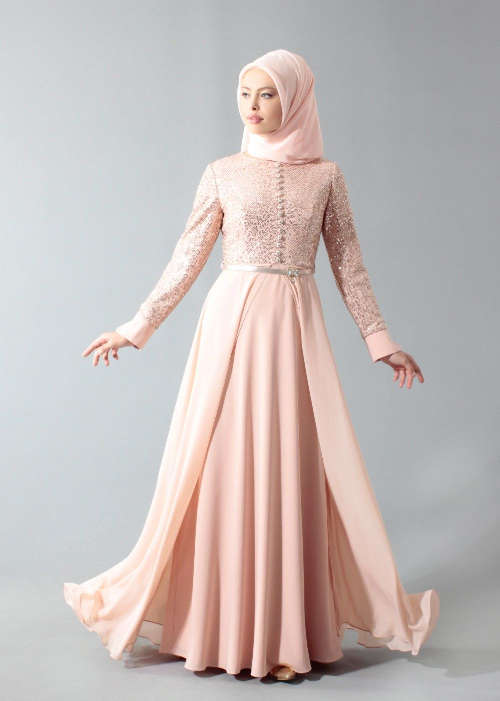 Model Gamis Pesta Brokat Kombinasi Satin Buttoned Dresses
