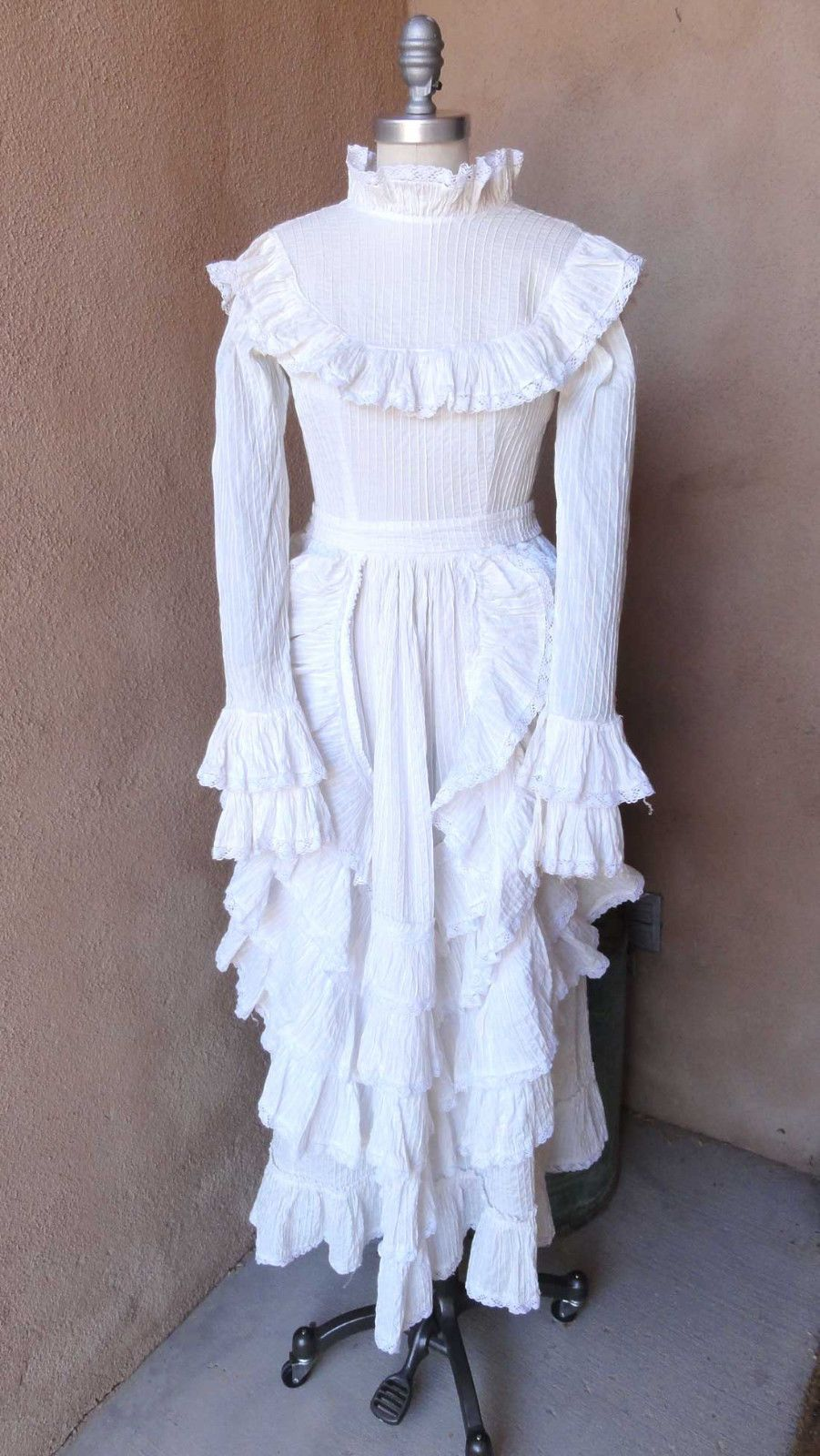 Vtg 70s Fred Leighton Mexican Wedding Dress Ivory Pintucked Lace Boho Hippie Xxs Ebay: Mexican Wedding Dresses Ivory At Websimilar.org