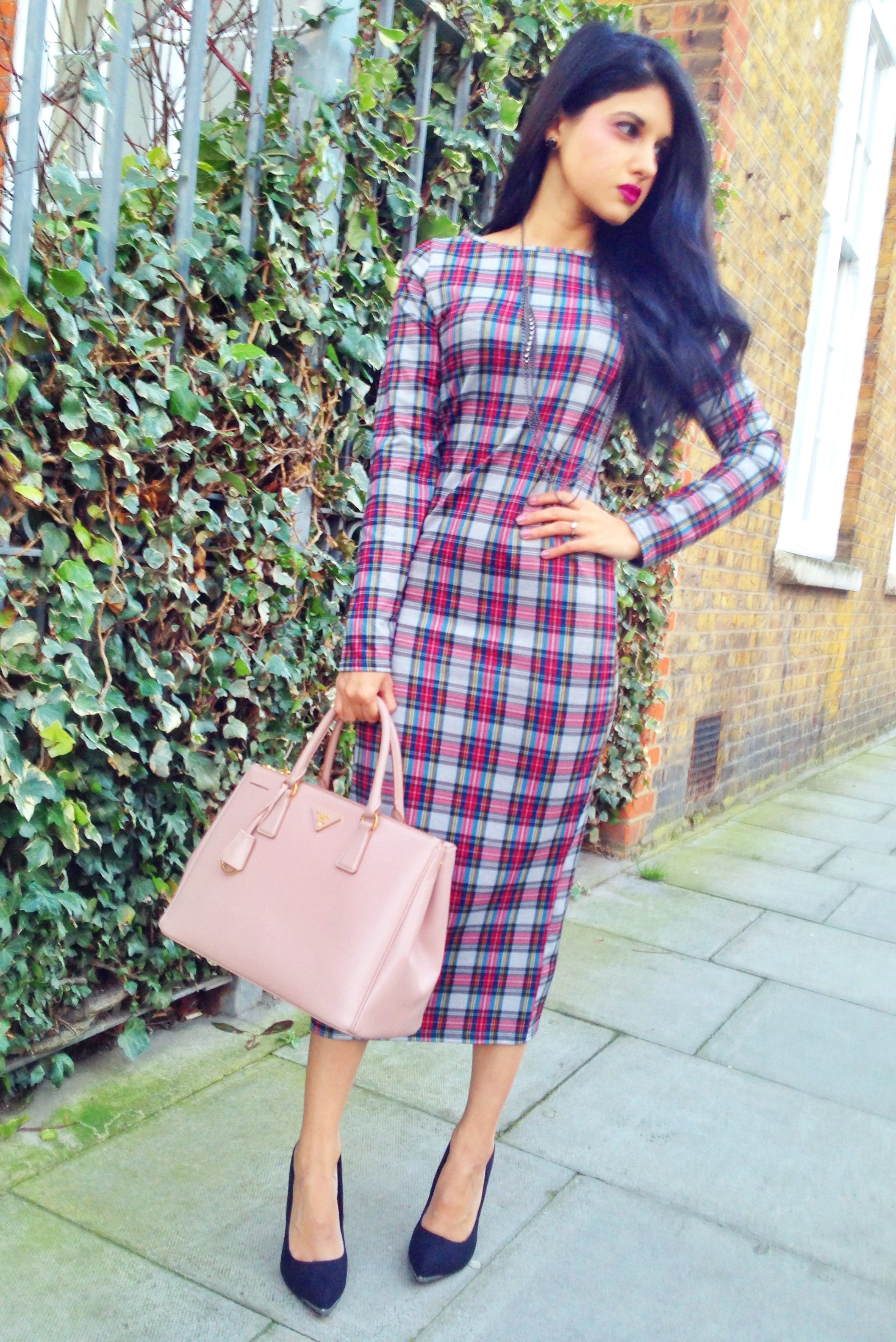 Tartan Midi Dress by Glamorous | Prada Saffiano Tote in Cameo ...
