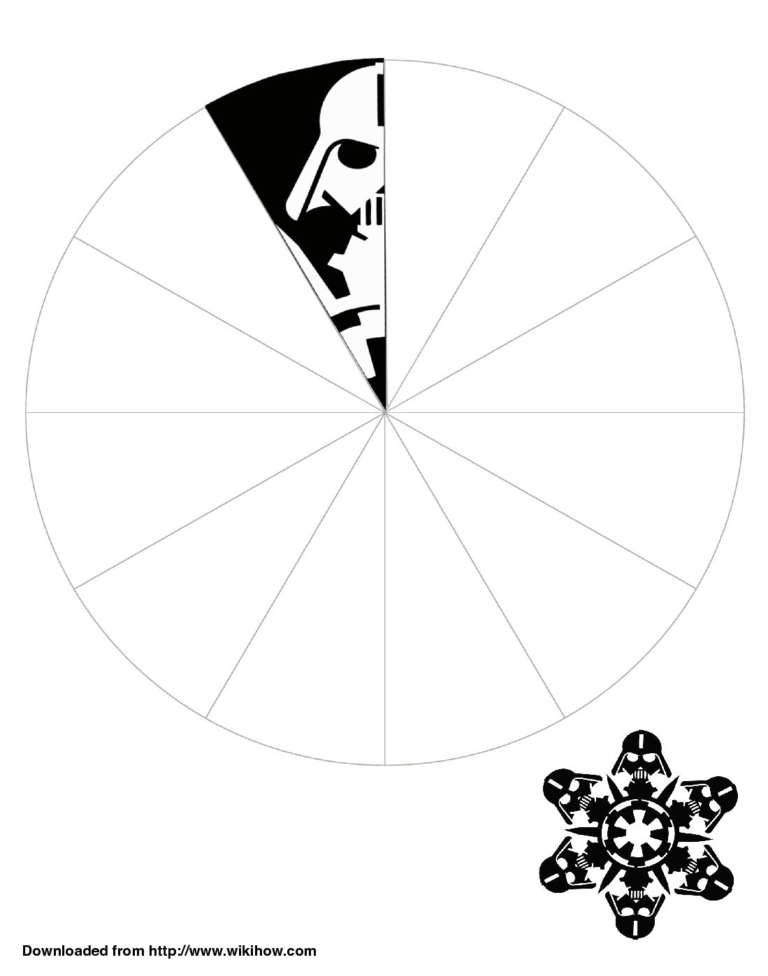 Printable darth vader snowflake template wikihow for Paper star cut out template