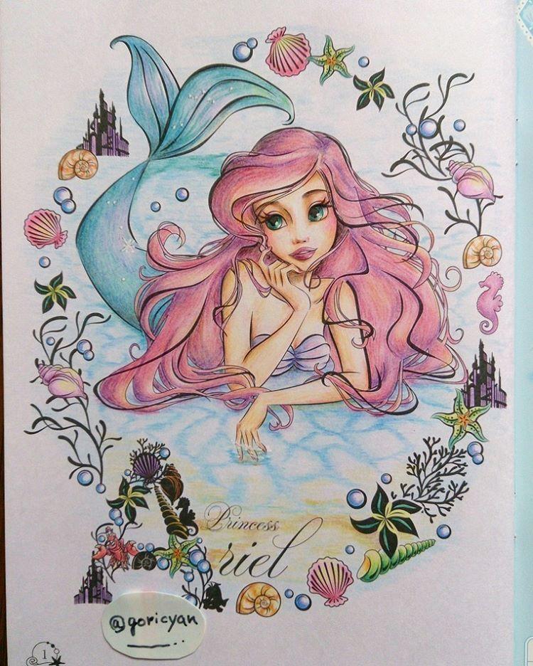 Instagram의 ごり님 2018 5 2 大人アリエルさん ๑ W ๑ 大人の塗り絵 大人のぬり絵 コロリアージュ Coloriage Coloringbook Adultcoloringbook セリ Mermaid Drawings Mermaid Art Disney Drawings
