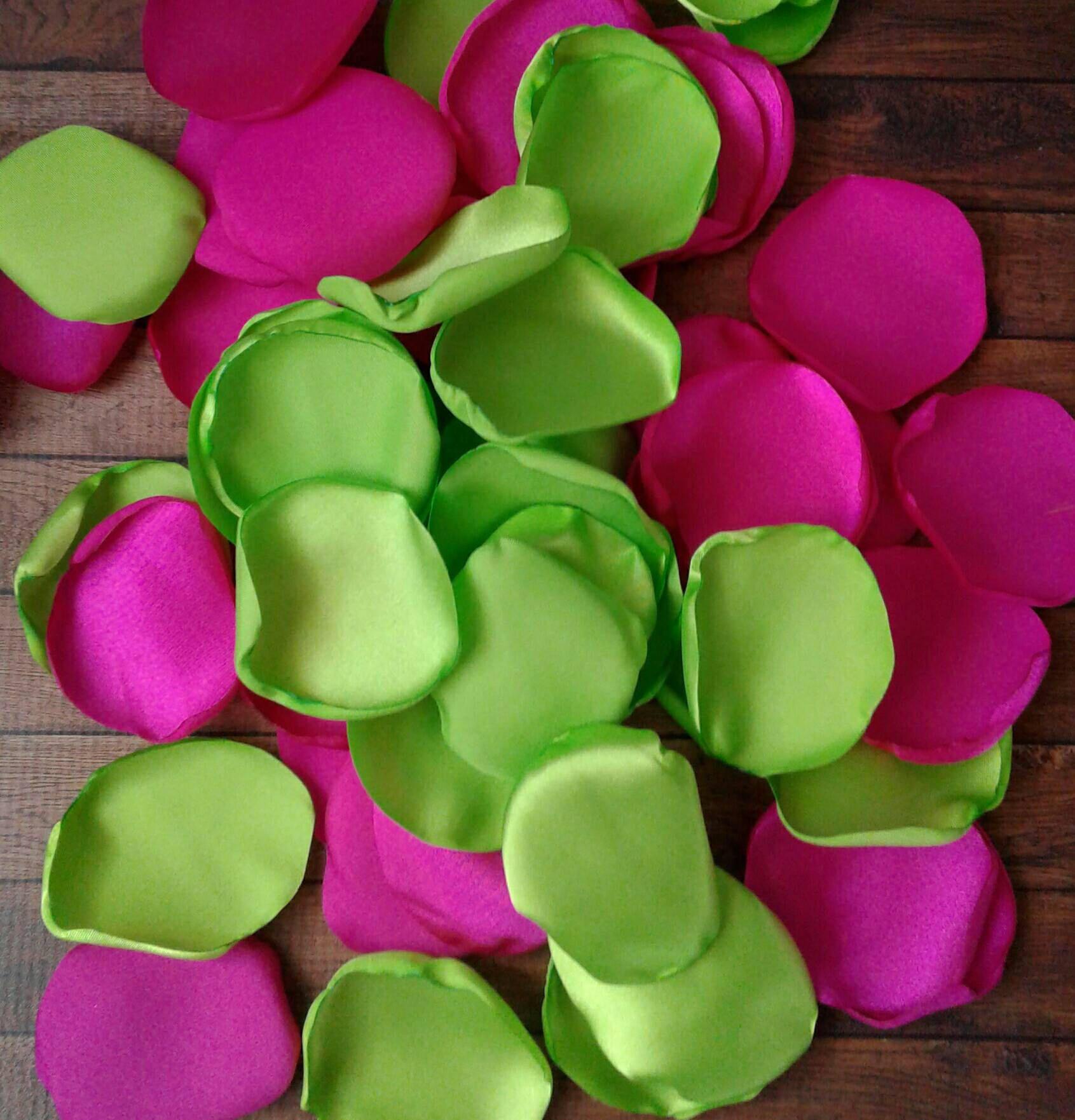 Lime Green Wedding, Lime Green Rose Petals, Hot Pink