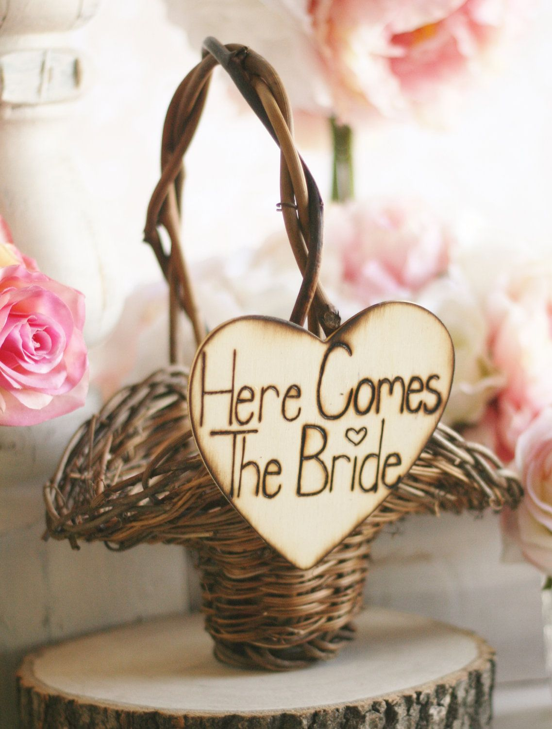 Rustic flower girl basket here comes the bride sign item b