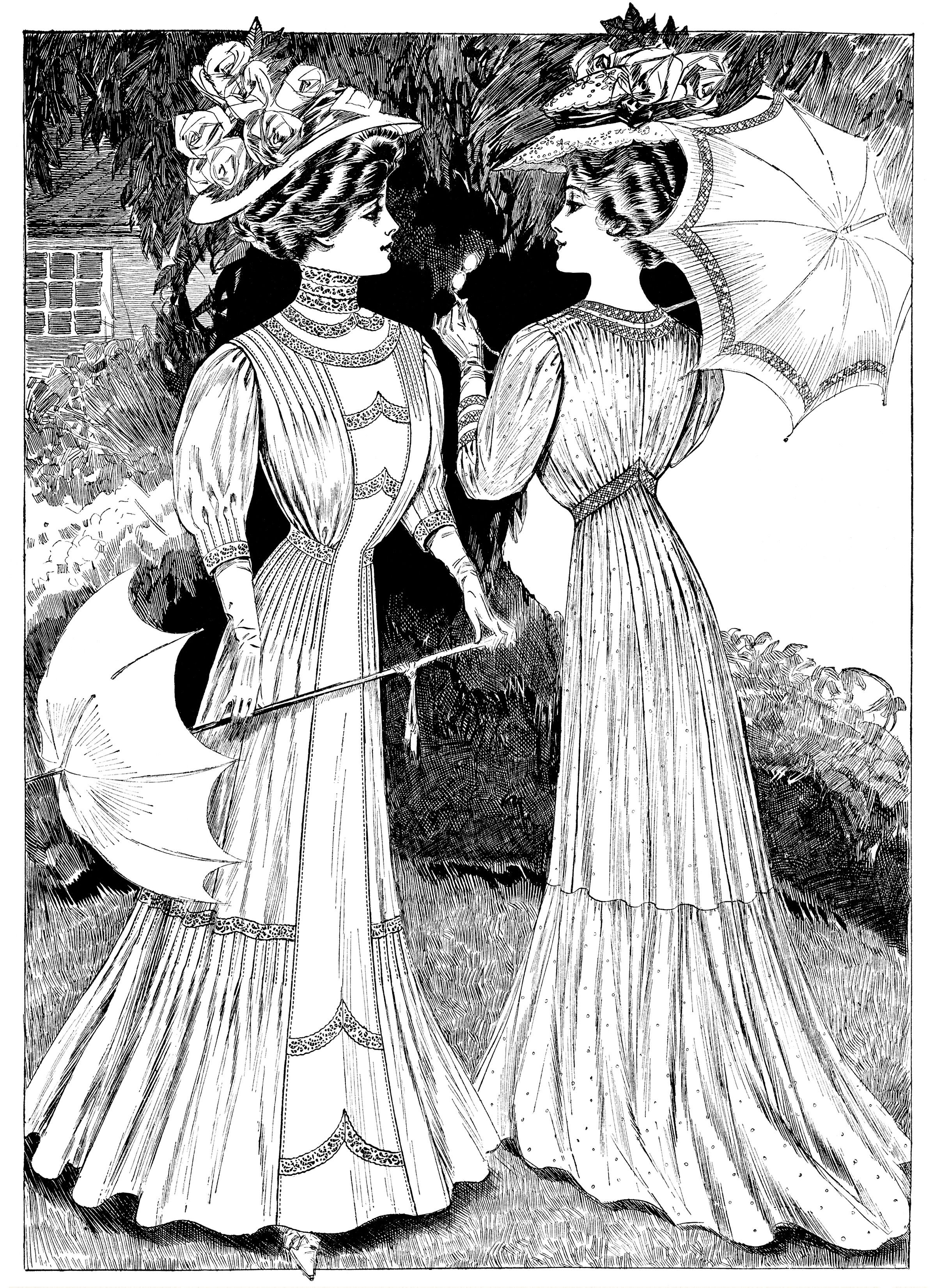 Edwardian fashion sketch, Victorian lady clip art, lady with ...