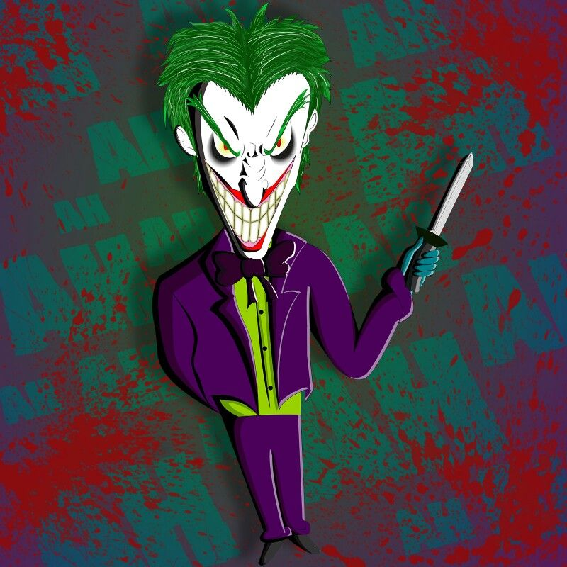 Mini Joker ilustrado de forma análoga, vectorizado en illustrator y retocado en Photoshop