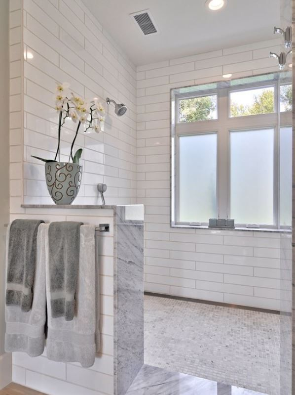 The Waterfall Effect On The Pony Wall Is Beautiful Houzz Com Farmhouse Shower Window In