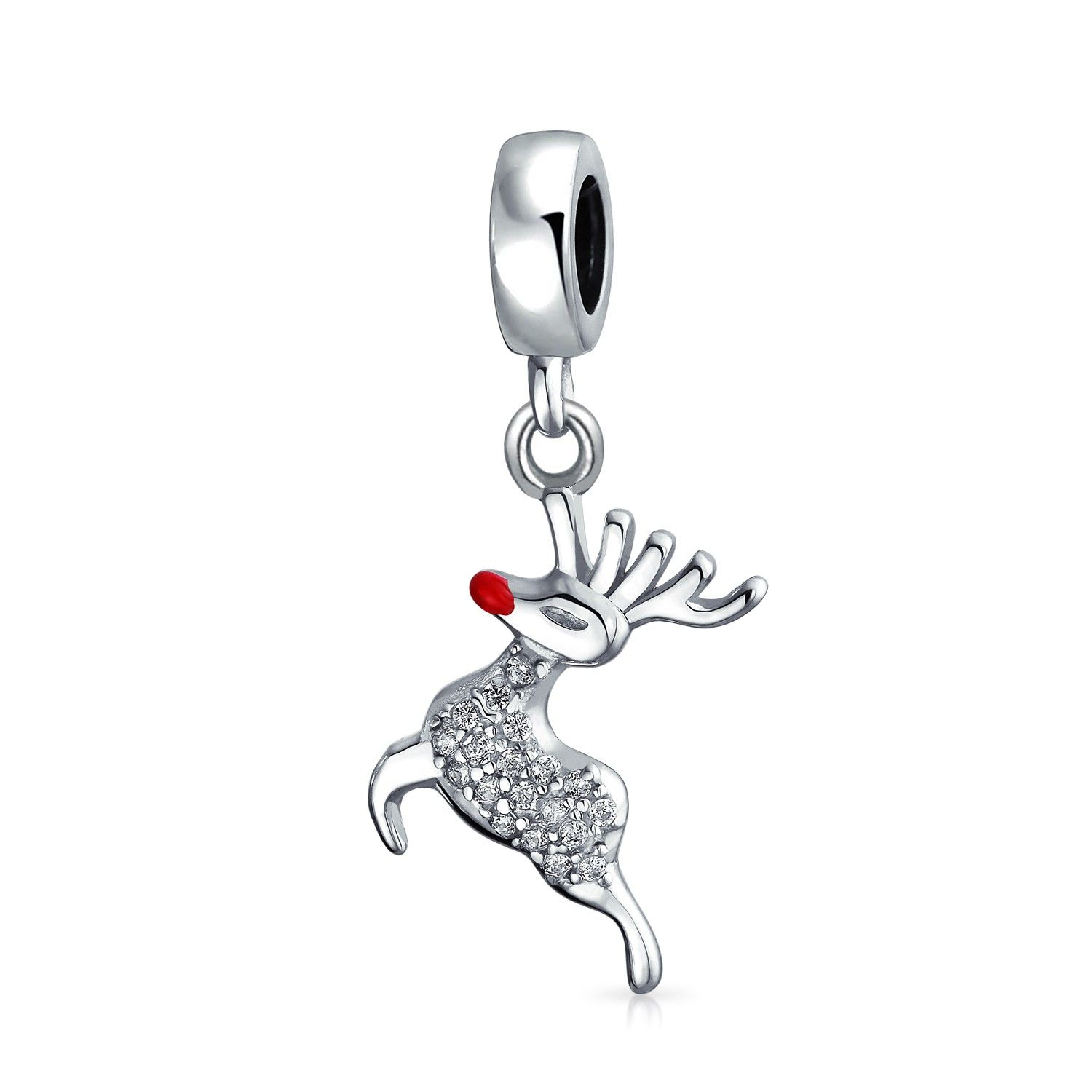Christmas Dangle Rudolph Reindeer Red Nose Crystal Bead