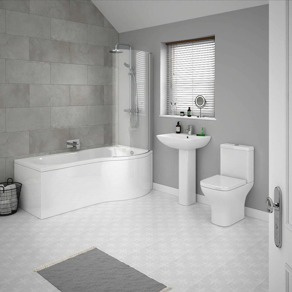 This Super Smart Contemporary Grey Bathroom Design Features Grey Patterned Floor Tiles Larg Contemporary Grey Bathrooms Grey Bathrooms Designs Modern Bathroom