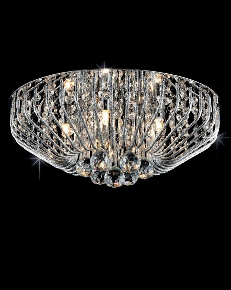 This Contemporary Chrome Five Light Flush Fitting Crystal Ceiling That Will Live Happily On The In Your Living Room Or Which Could Be Used As
