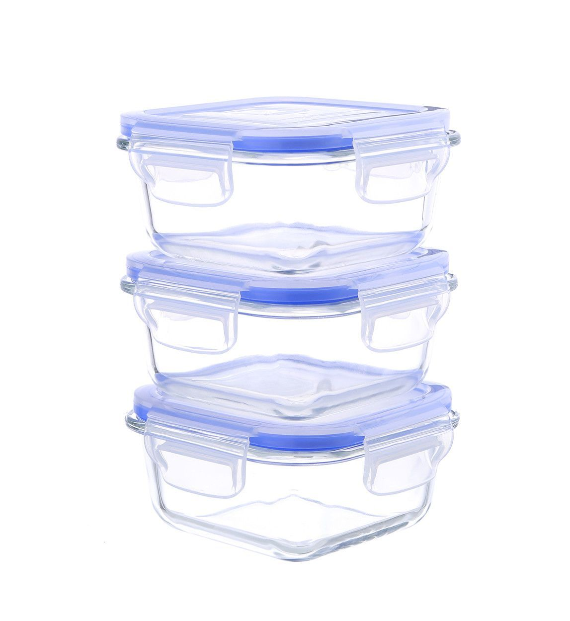 Glasslock Elements 6 Piece Square Oven Safe Glass Food Storage Container Set  With Vented Lid 17