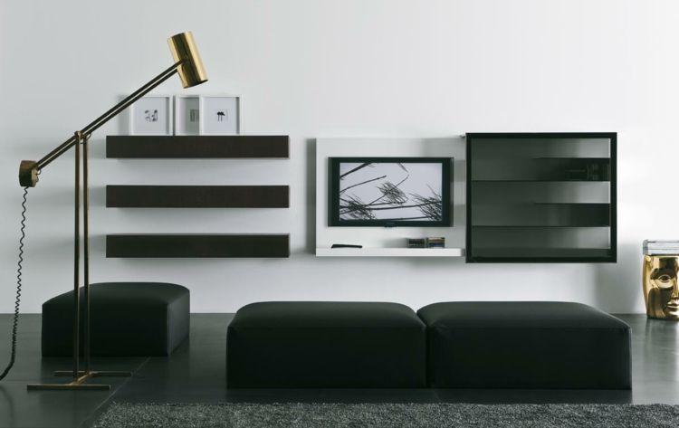 Selber bauen wohnwand hocker schwarz schraenke wand for Gestaltung wand wohnzimmer