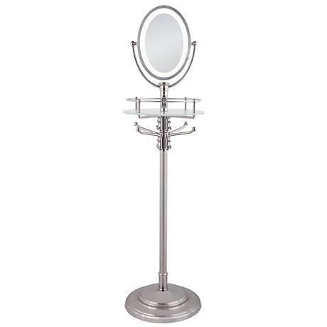 Led Lighted 13 X 53 Satin Nickel, Adjustable Floor Stand Mirror