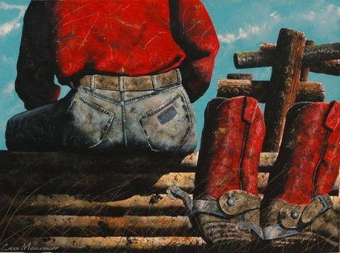 Cowboy Hot Tub Artist Chuck Middlekauff Original Acrylic