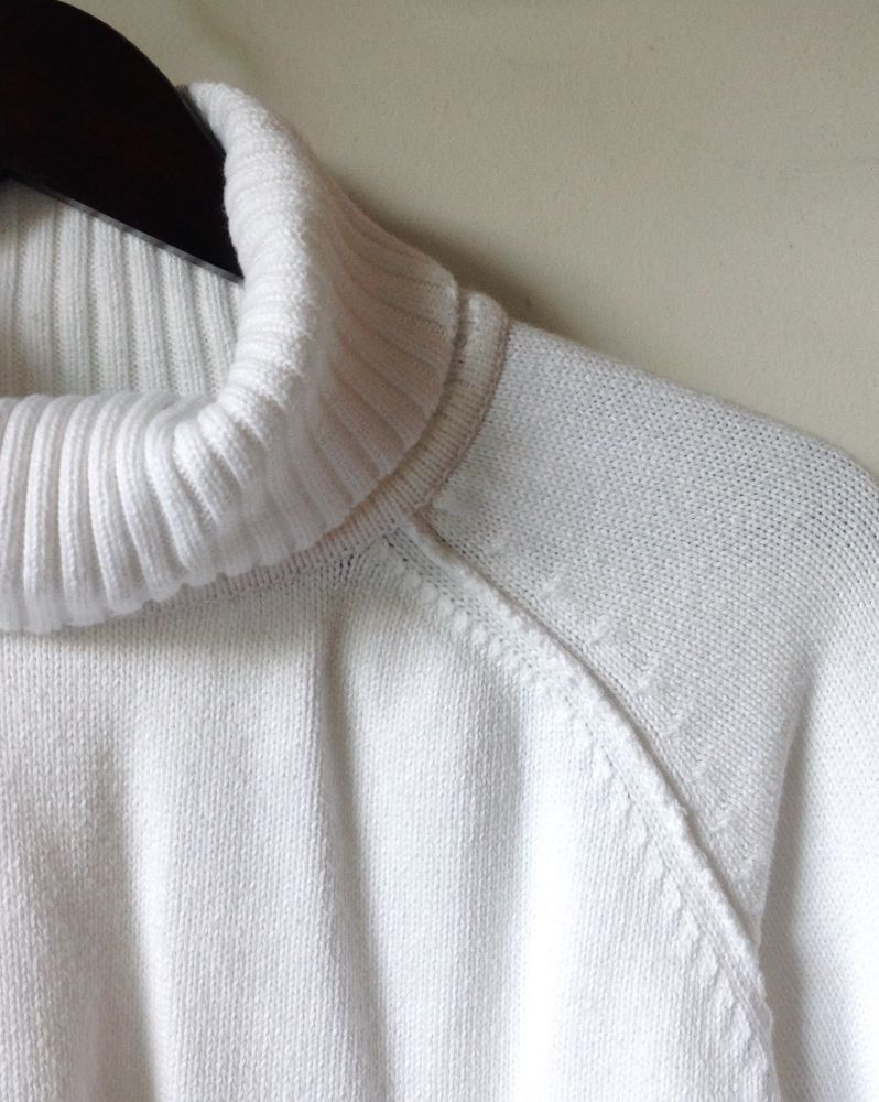 KAREN SCOTT WHITE Turtleneck SWEATER SZ XL,100% Cotton LONG RAGLAN ...