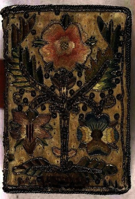 with floral motif17th century embroidered satin book with floral motif 18th Century French Floral Tapestry Vendanage Grape Harvest  Medieval Wall Tapestry 17th century em...