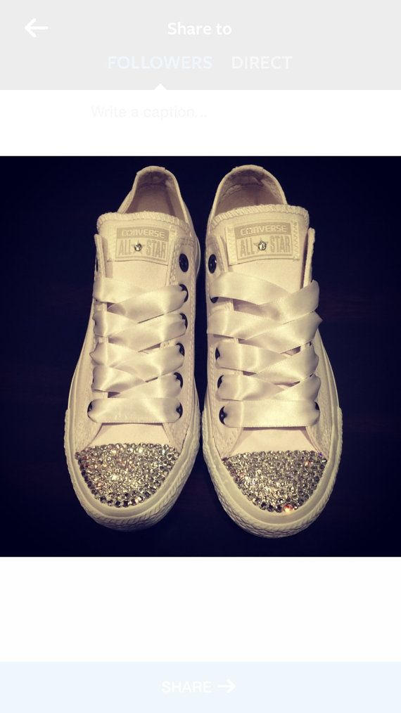 6aad7bb9cc30 SWAROVSKI CONVERSE- White Low Tops for Women- Chuck Taylors- Clear  Swarovski Crystals with White Lace