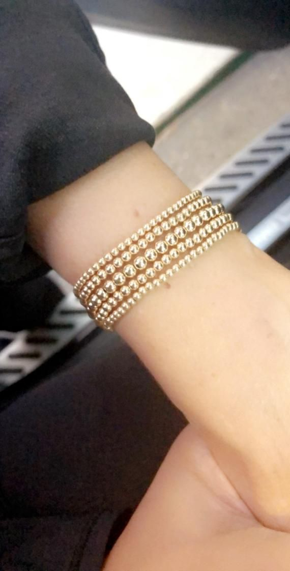 c00907c4a25 Gold Bead Bracelet, 14K Yellow Gold Filled Beaded Ball Bracelet, 2.5mm,  3mm, 4mm, Stacking Stretch B