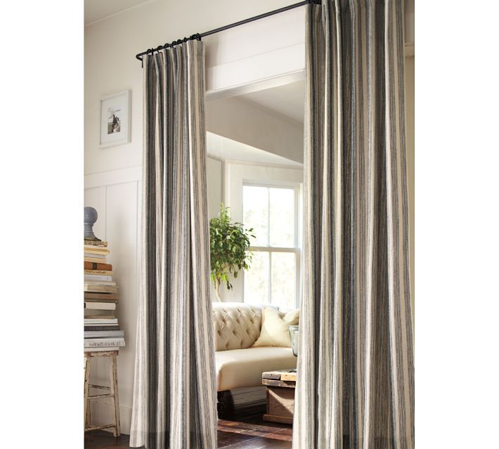 Master Bathroom No Door curtain as bathroom door (since the master bath has no door