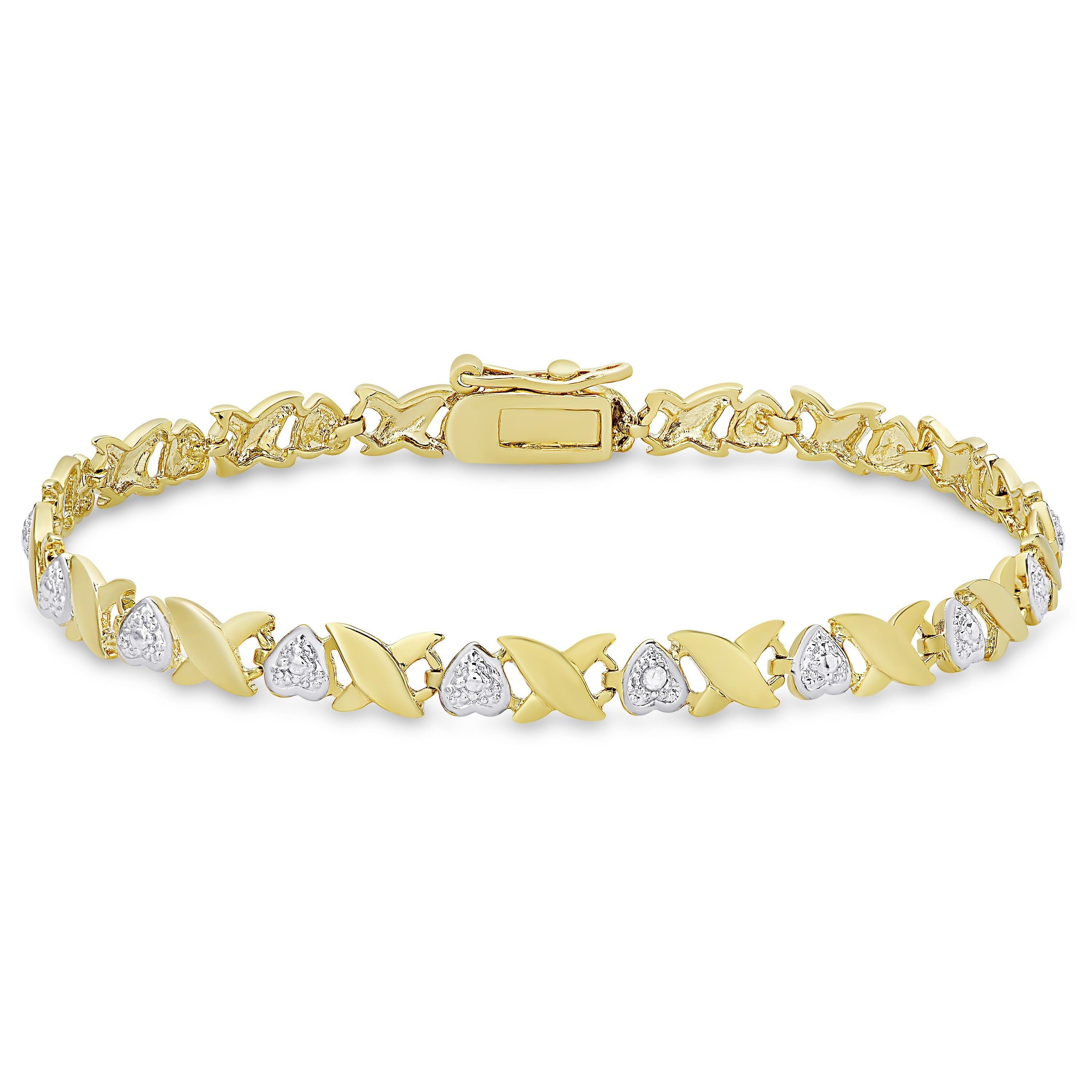 Finesque gold over sterling silver diamond accent ux and heart