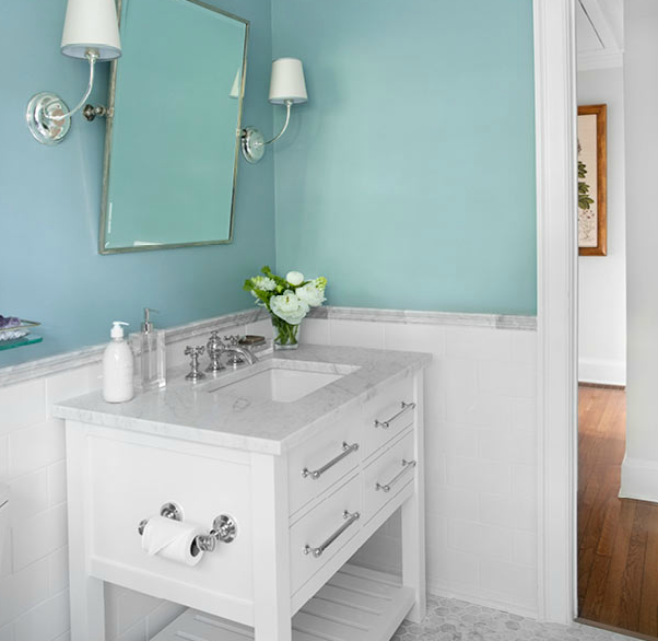 Bathrooms Sherwin Williams Dutch Tile Blue Vendome Single - Restoration hardware bathroom mirrors for bathroom decor ideas