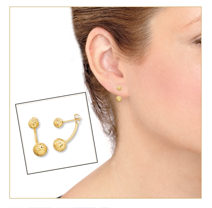 Win major style points with these trendy yellow gold, front-back earrings.