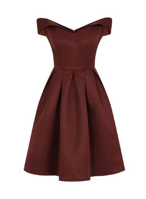 *Chi Chi London Petite Brown Bardot Dress