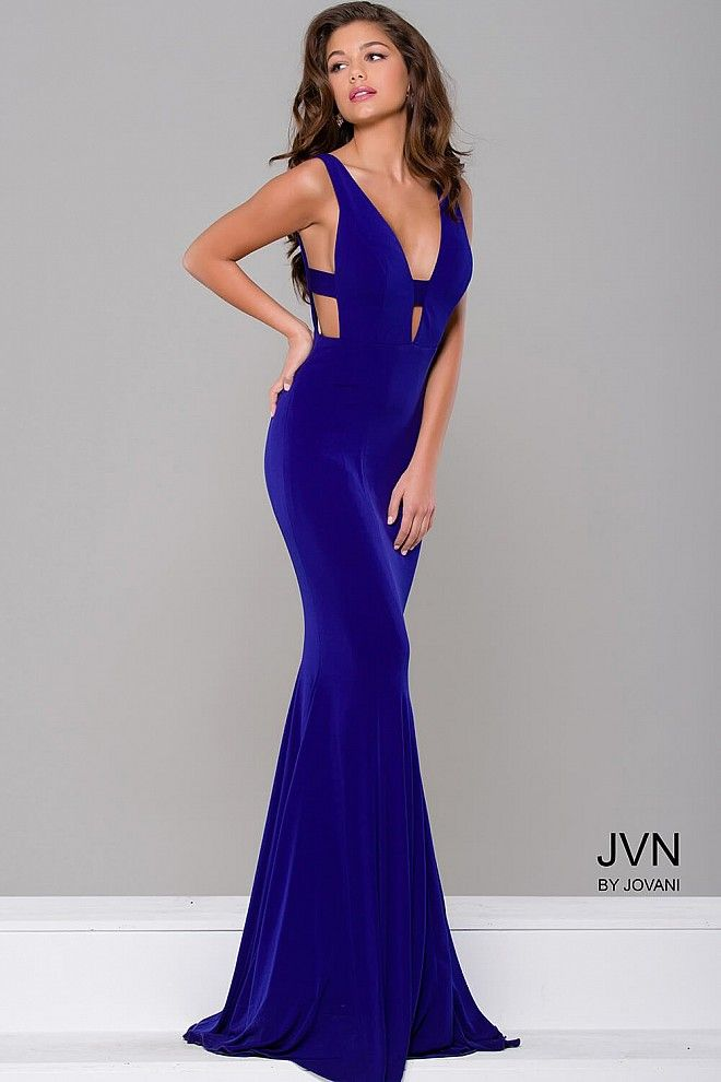 Sexy and simple floor length form fitting royal jersey prom dress ...