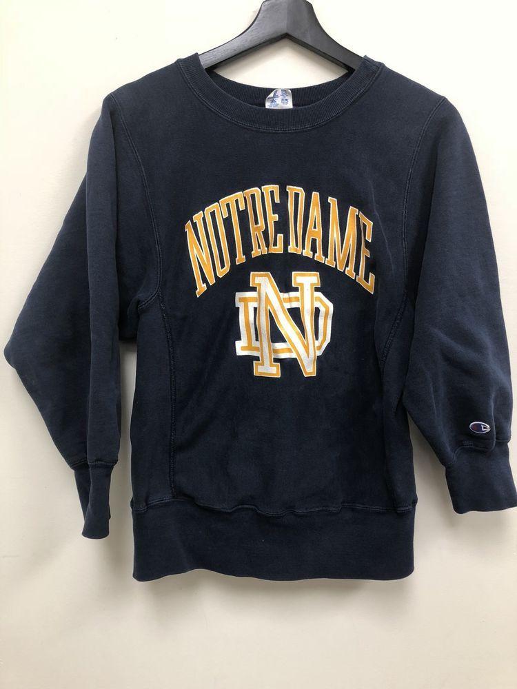 Vintage Champion Reverse Weave Notre Dame Crewneck Sweatshirt Free