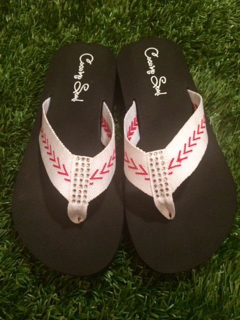 9cf6c97ccd2e FABRIC Stitch Baseball Flip Flops Sandals Slippers Womens