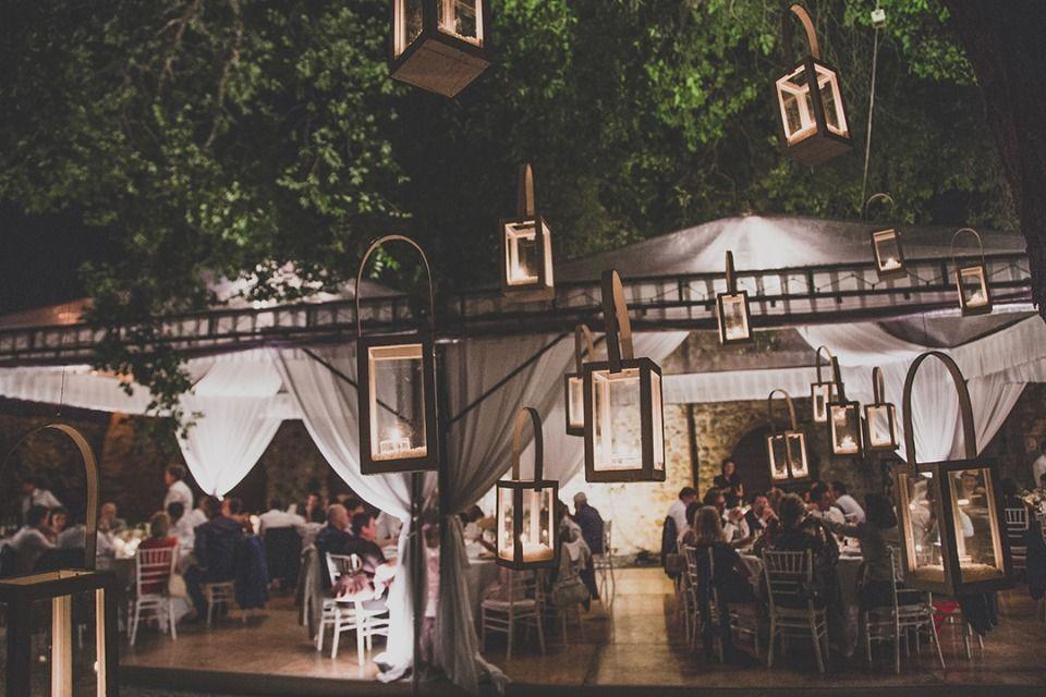 dinner reception lit by lanterns
