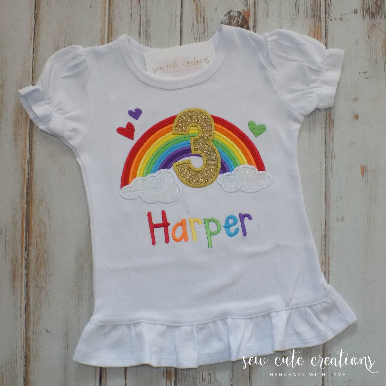 Rainbow Birthday Shirt Girl Outfit Party Ruffle Sihrt Sew Cute Creations
