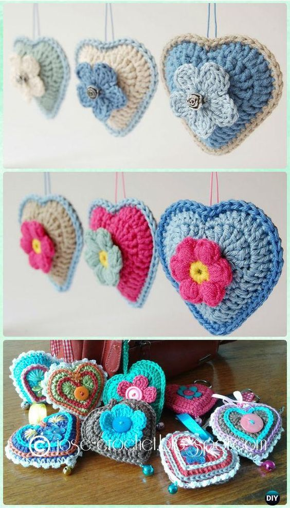 DIY Crochet Heart Keychain Free Pattern- Crochet Heart Free Patterns ...