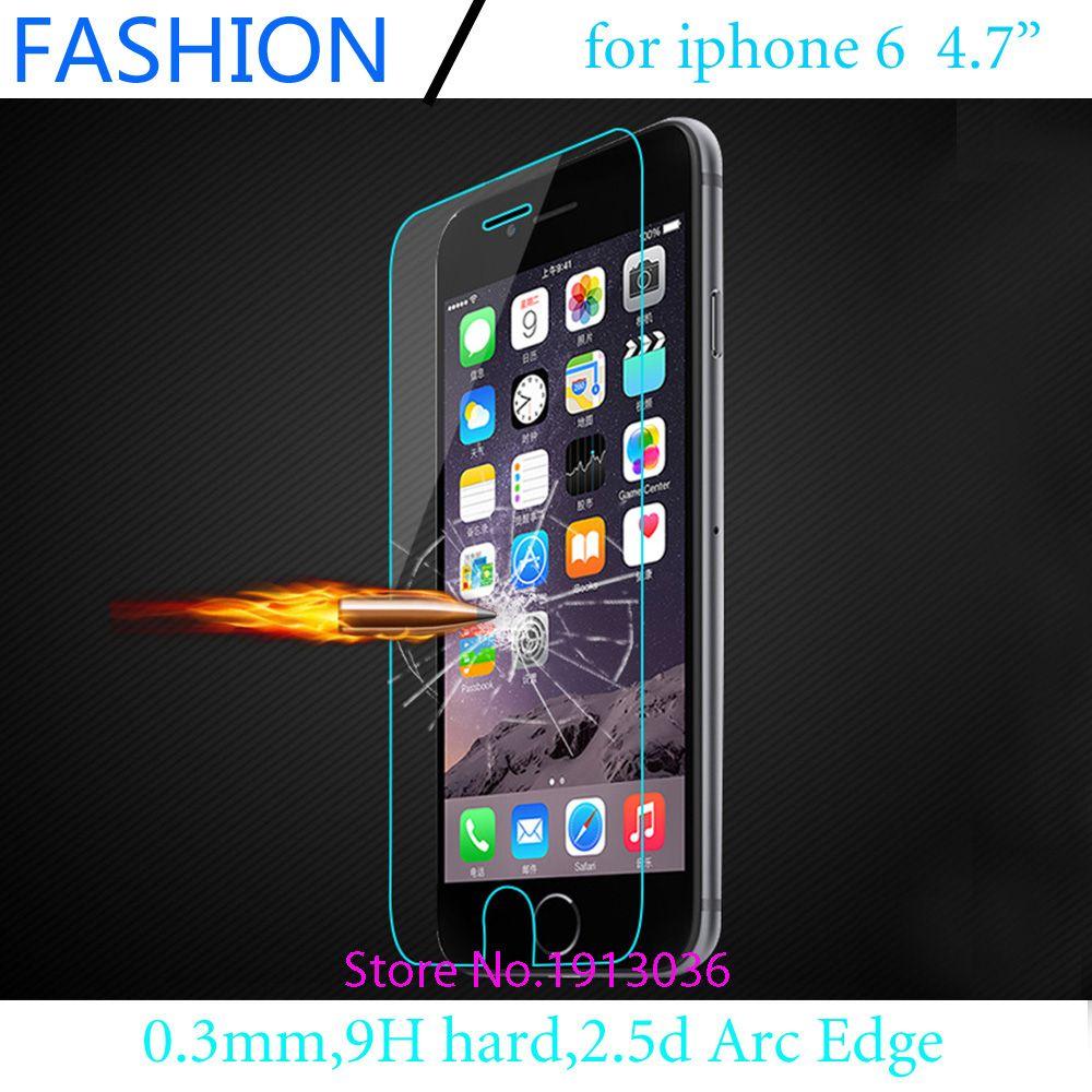 0.3 미리메터 프리미엄 iphone 6 화면 보호기 iphone 6s 강화 유리 4.7 인치 2.5D 아크 가장자리 높은 투명 무료 배송