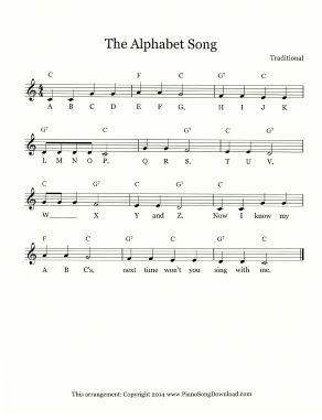 Sing Your Abcs With The Alphabet Song Lead Sheet Free From