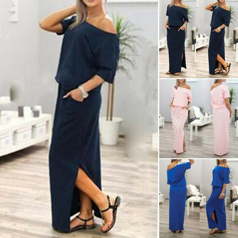 Women/'s Off Shoulder Long Sleeve Bodycon Evening Cocktail Party Long Dress X8X7