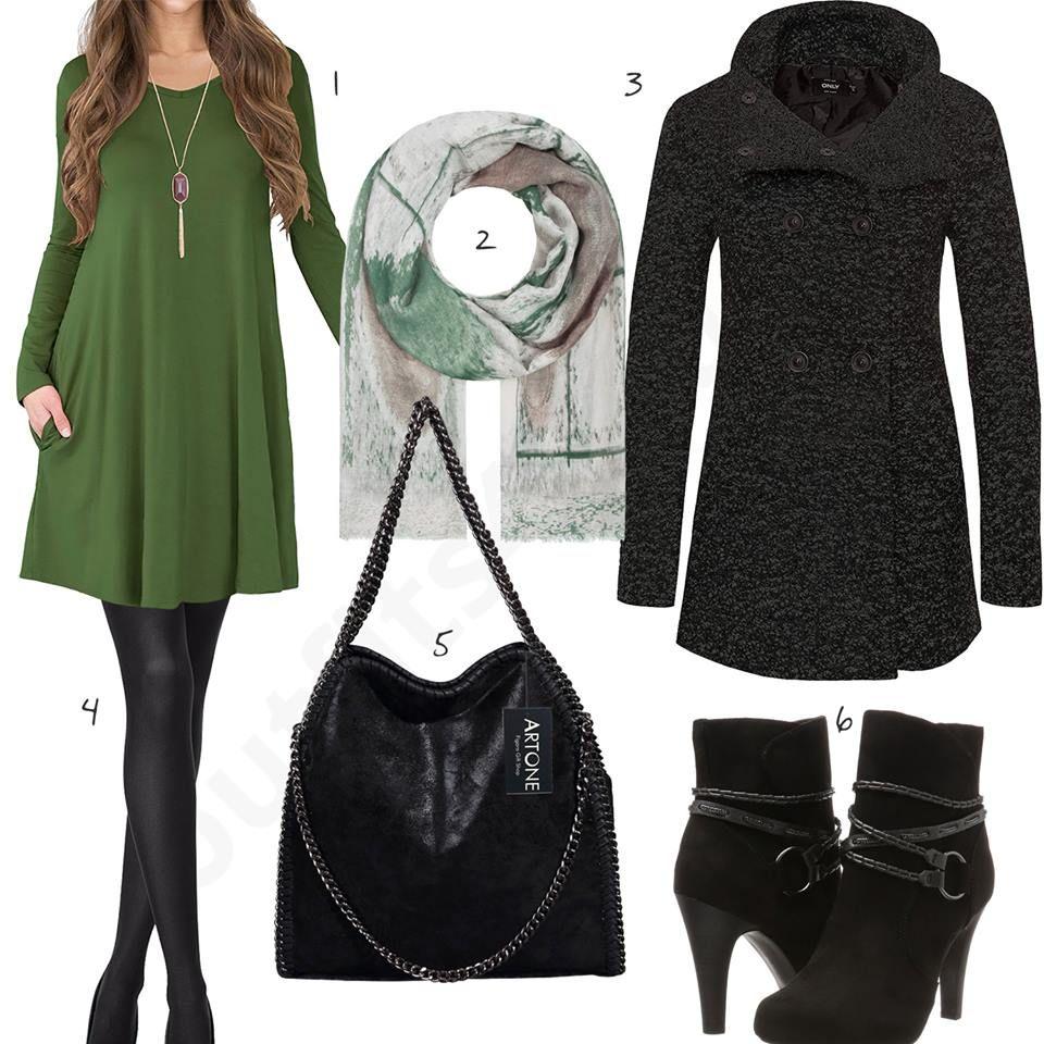 Elegantes Damenoutfit Mit Grunem Kleid Und Mantel W0826 Kleid