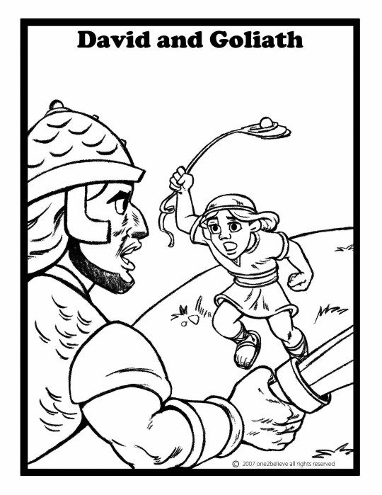 Creative Mode Bible Coloring Pages Sunday School Coloring Pages David And Goliath