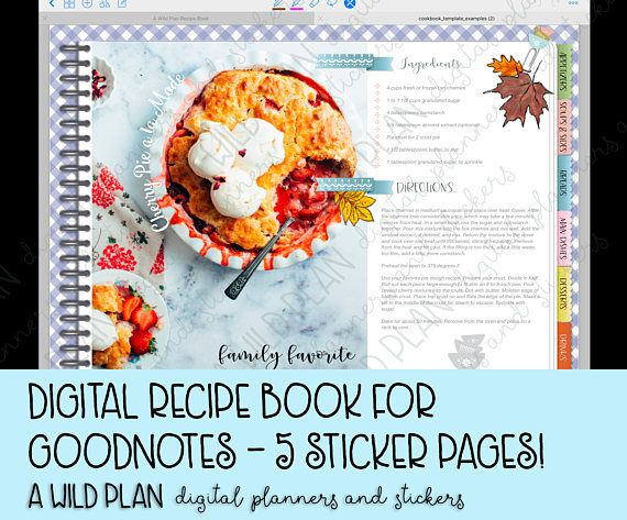 Goodnotes Ipad Digital Planner Blank Recipe Book Digital Etsy Digital Recipe Book Digital Planner Recipe Book
