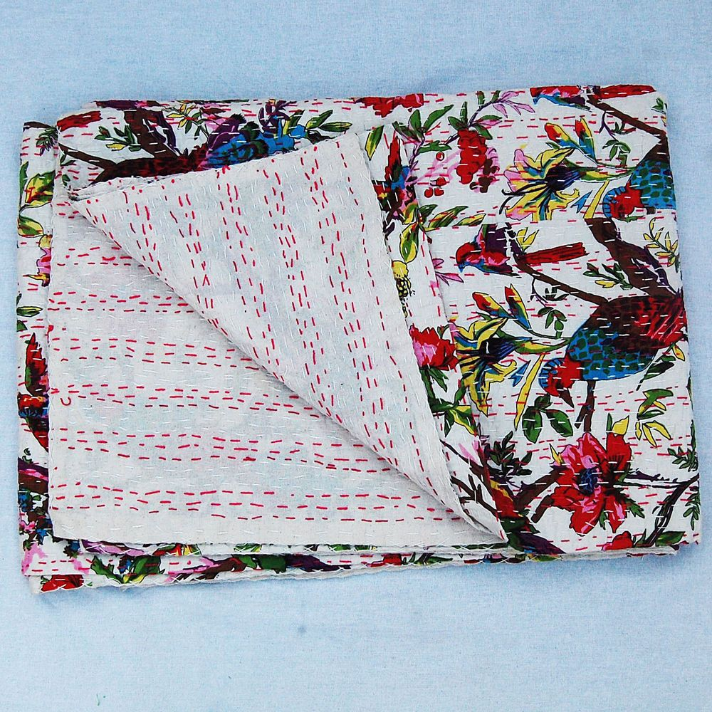 Kantha Quilt Twin Kantha Quilt Kantha Blanket Bedspread Bed Cover Bedding