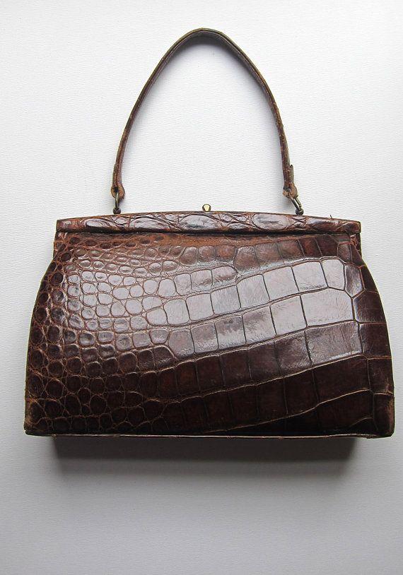 Stunning Vintage 1930s 1940s Real Crocodile Skin Handbag Purses Handbags Bags