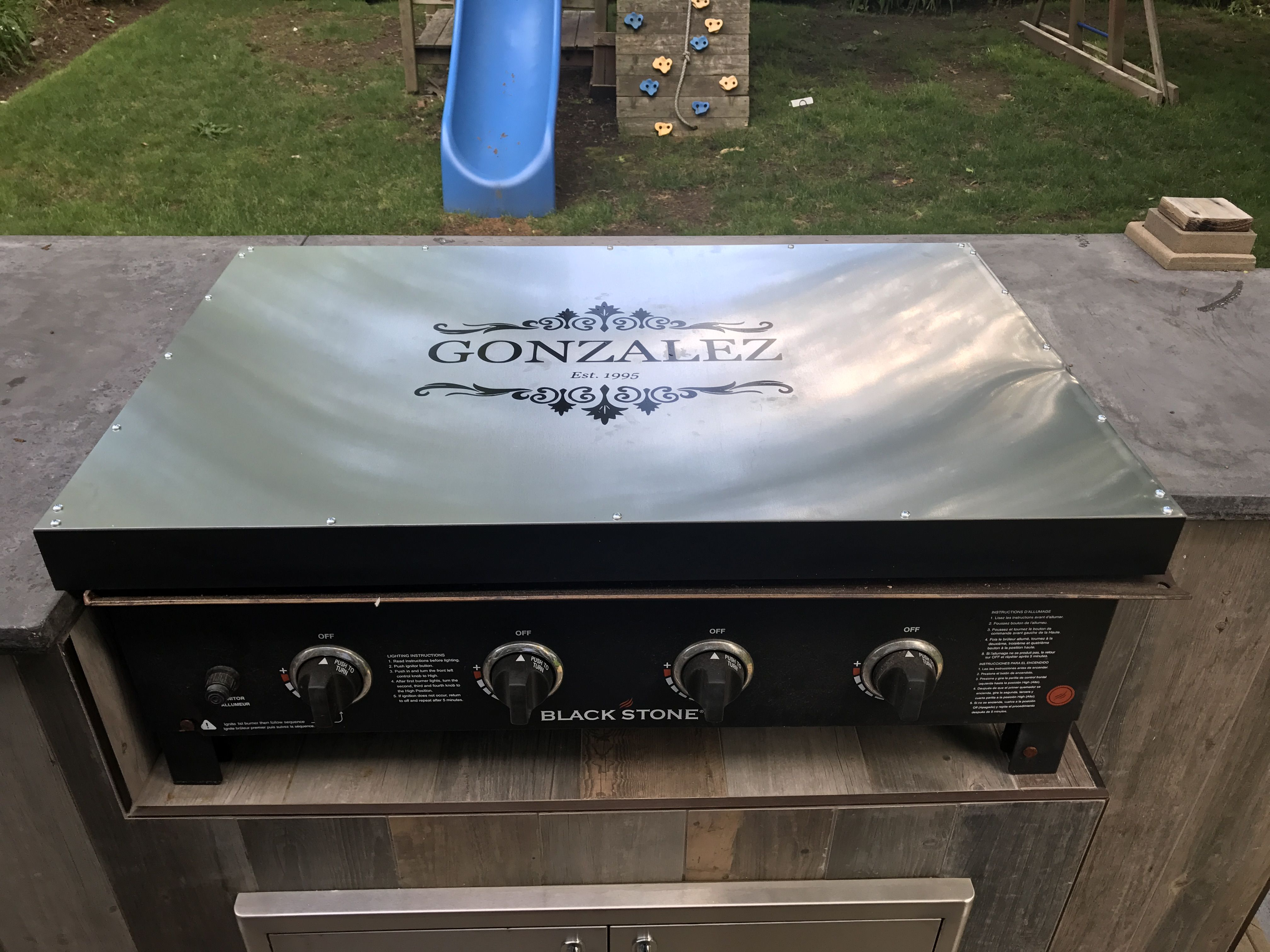 Stove Top Cover For Blackstone Griddle Made Out Of Aluminium Sheet For The Top With A Vinyl Decal And Outdoor Bbq Kitchen Outdoor Kitchen Backyard Diy Projects