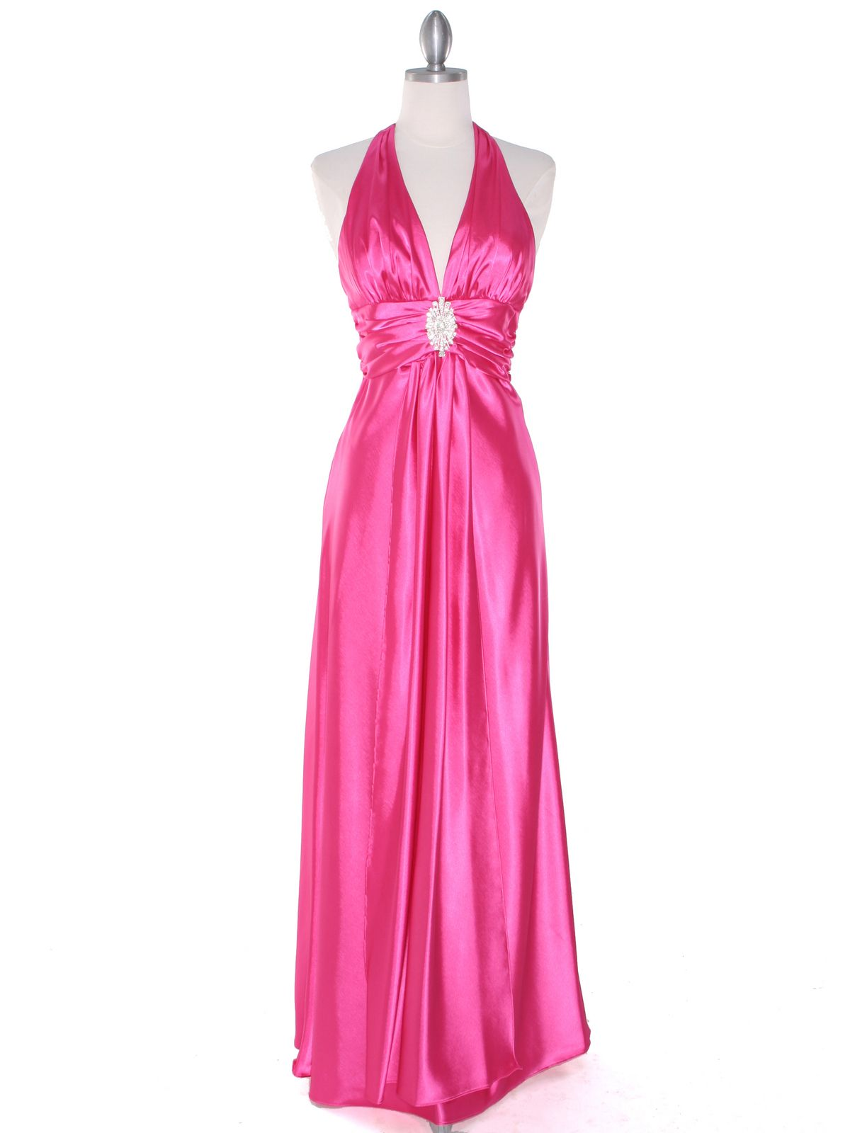 Hot Pink Satin Halter Prom Dress. Style #: 7122. Get yours today at ...