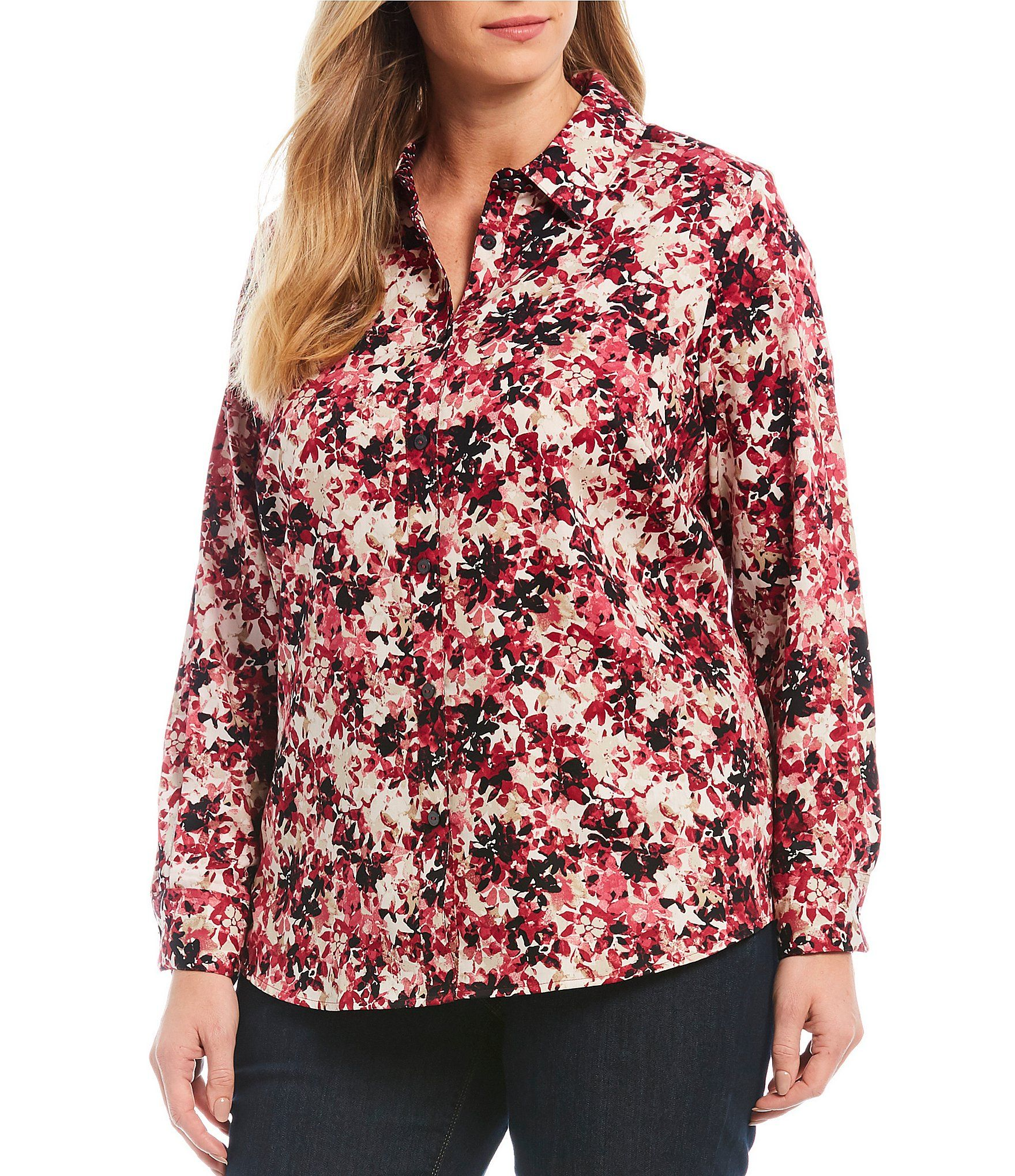 Foxcroft Plus Size Ava Vintage Floral Cotton Sateen Button Front Blouse | Dillard's 1