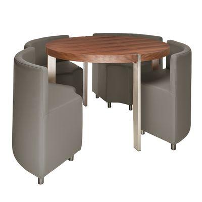 Rotunda Dining Table Set Walnut And Stone