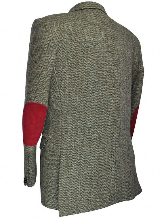 f5720f3b8c275 This quality Harris Tweed blazer is made even better with the addition of  our custom-sewn suede elbow patches in a catchy red color!