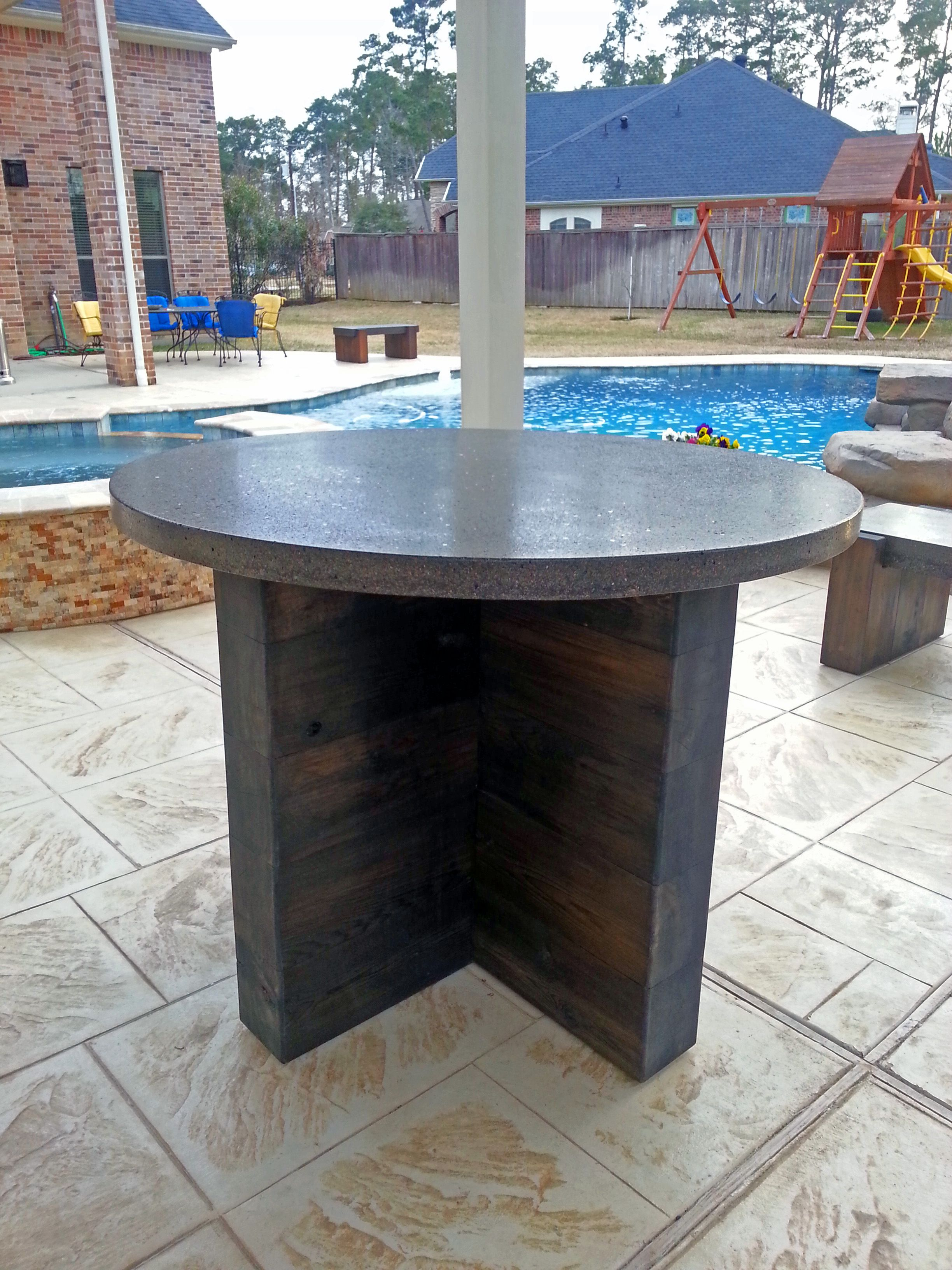 Pub height outdoor concrete table we designed for a client for their